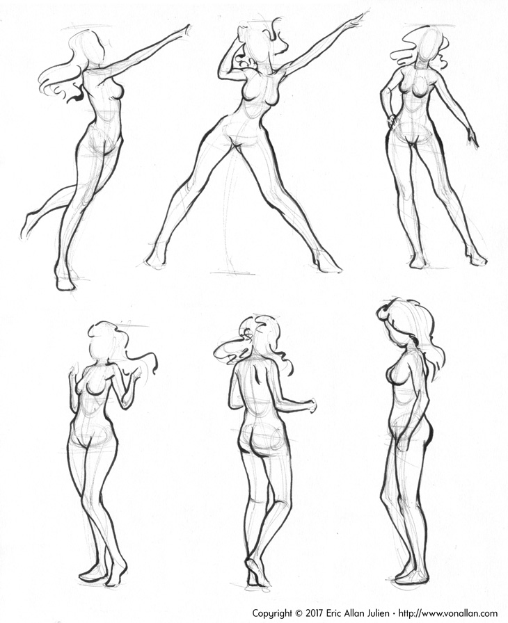 Five minute gesture sketches in ballpoint and brush ink by Von Allan