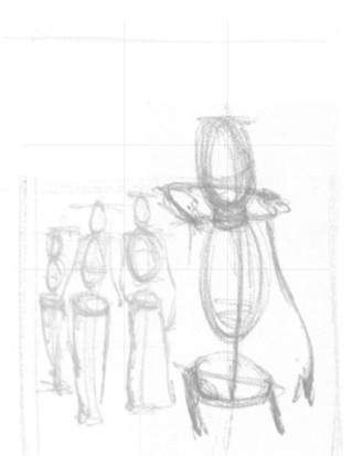Initial rough layout sketch for poster from I AM STILL YOUR CHILD by Von Allan