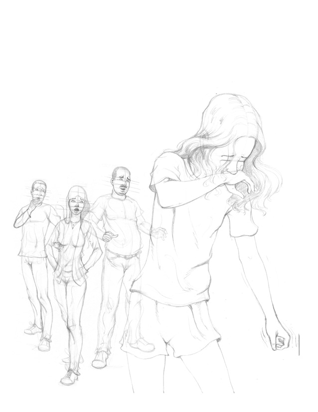 Initial rough layout sketch for Girl In School poster from I AM STILL YOUR CHILD by Von Allan