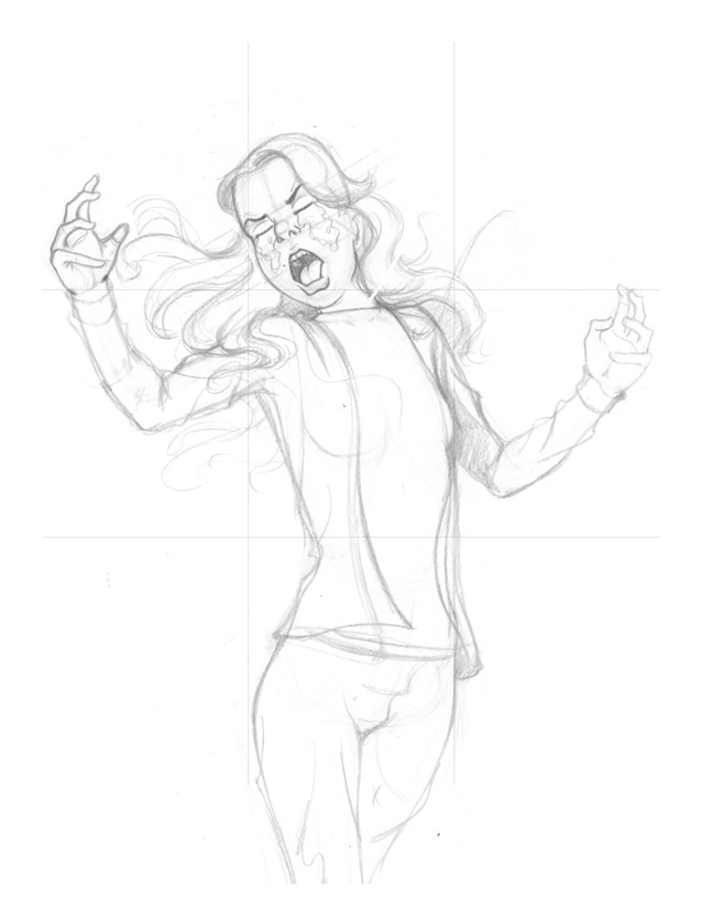 Somewhat tighter pencils for Upset Girl poster from I AM STILL YOUR CHILD by Von Allan