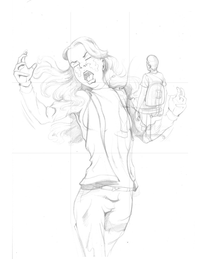 Still tighter pencils for Upset Girl poster from I AM STILL YOUR CHILD by Von Allan