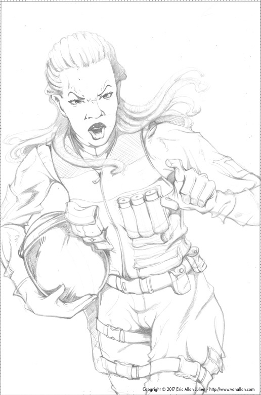 Rough pencil sketch for Wolf's Head Issue 1 by Von Allan