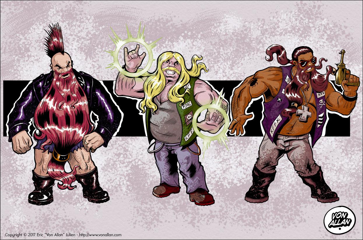 Colour versions of some dwarf bikers by Von Allan