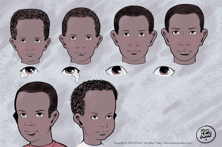 Growth and age changes in colour of the boy from the short story I WAS AFRAID FOR MY LIFE by Von Allan