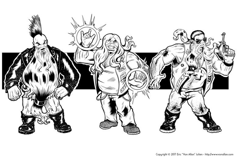 Inked illustration of a group of fantasy biker dwarfs by Von Allan