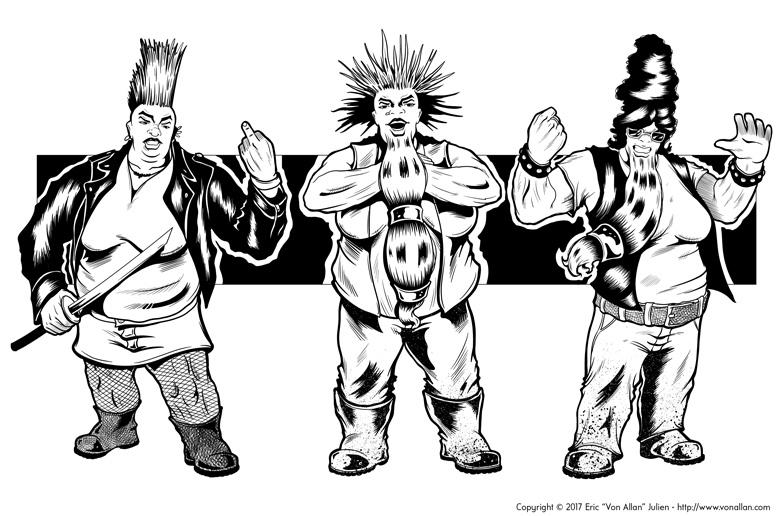 Inked illustration of a group of female fantasy biker dwarfs by Von Allan