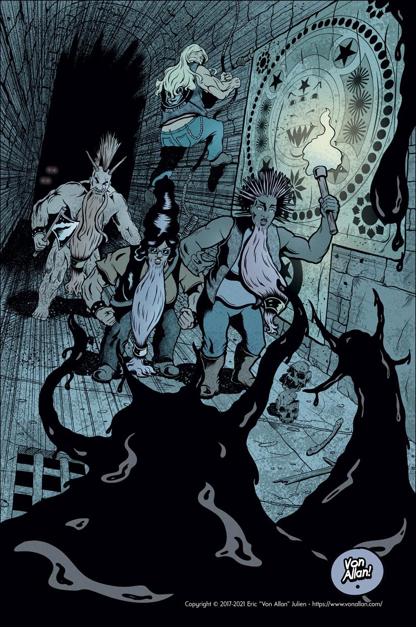 Biker dwarfs in a dungeon confronted by...something. Illustration by Von Allan