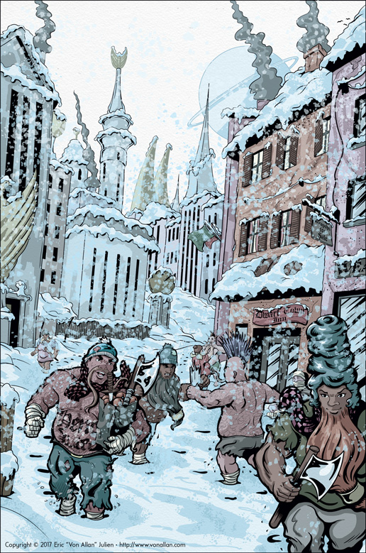 Dwarf Killerbeards along a fantasy winter street painting by Von Allan