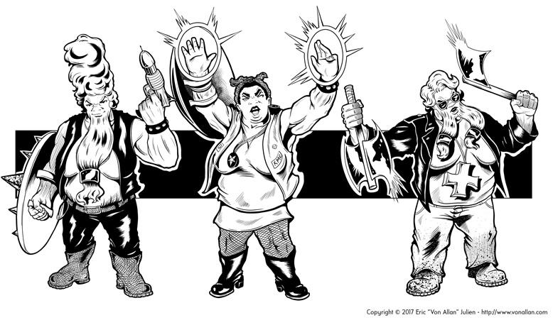 Inked illustration of a group of fantasy female biker dwarfs by Von Allan