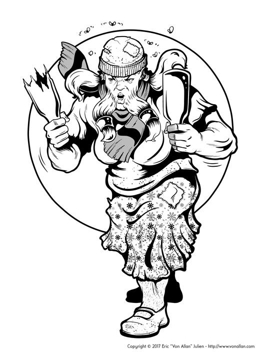 Inked Illustration of a Feisty Female Dwarf Killerbeard by Von Allan
