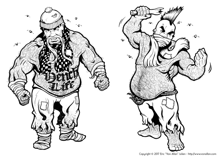 Black and white inked version of Two Dwarf Killerbeards illustrated by Von Allan