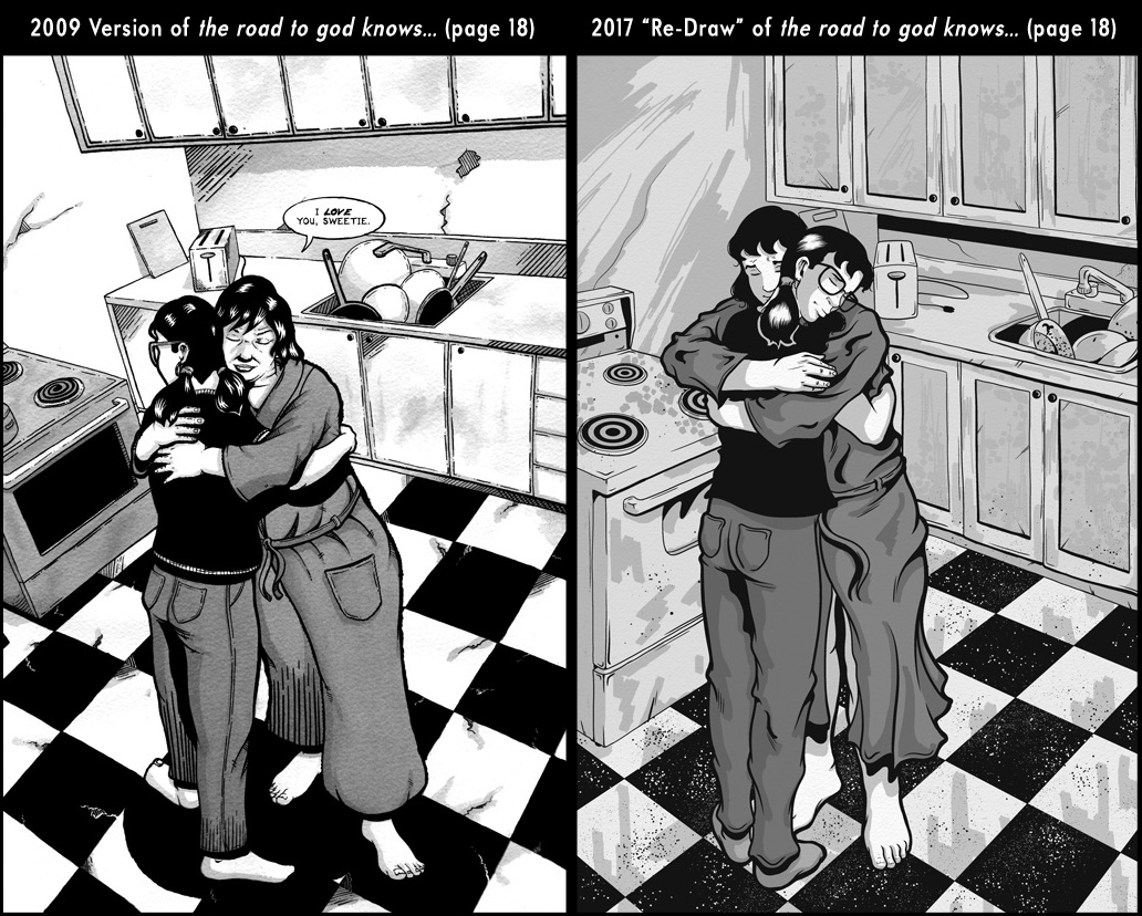 Comparison between page 18 from the 2009 published version of the road to god knows... and the 2017 redrawn version by Von Allan