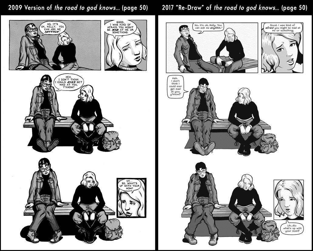 Comparison between page 50 from the 2009 published version of the road to god knows... and the 2017 redrawn version by Von Allan