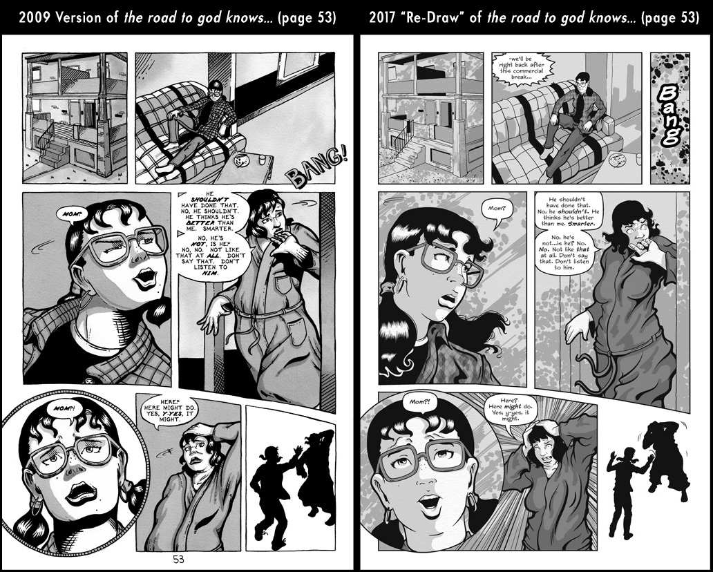 Comparison between page 53 from the 2009 published version of the road to god knows... and the 2017 redrawn version by Von Allan