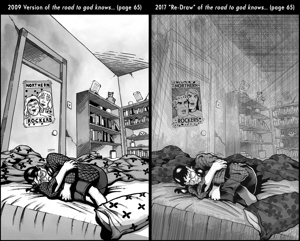 Comparison between page 65 from the 2009 published version of the road to god knows... and the 2017 redrawn version by Von Allan