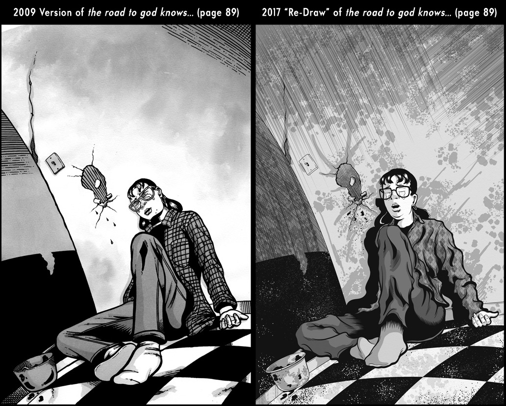 Comparison between page 89 from the 2009 published version of the road to god knows... and the 2017 redrawn version by Von Allan