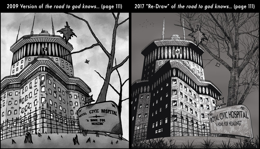 Comparison between page 111 from the 2009 published version of the road to god knows... and the 2017 redrawn version by Von Allan