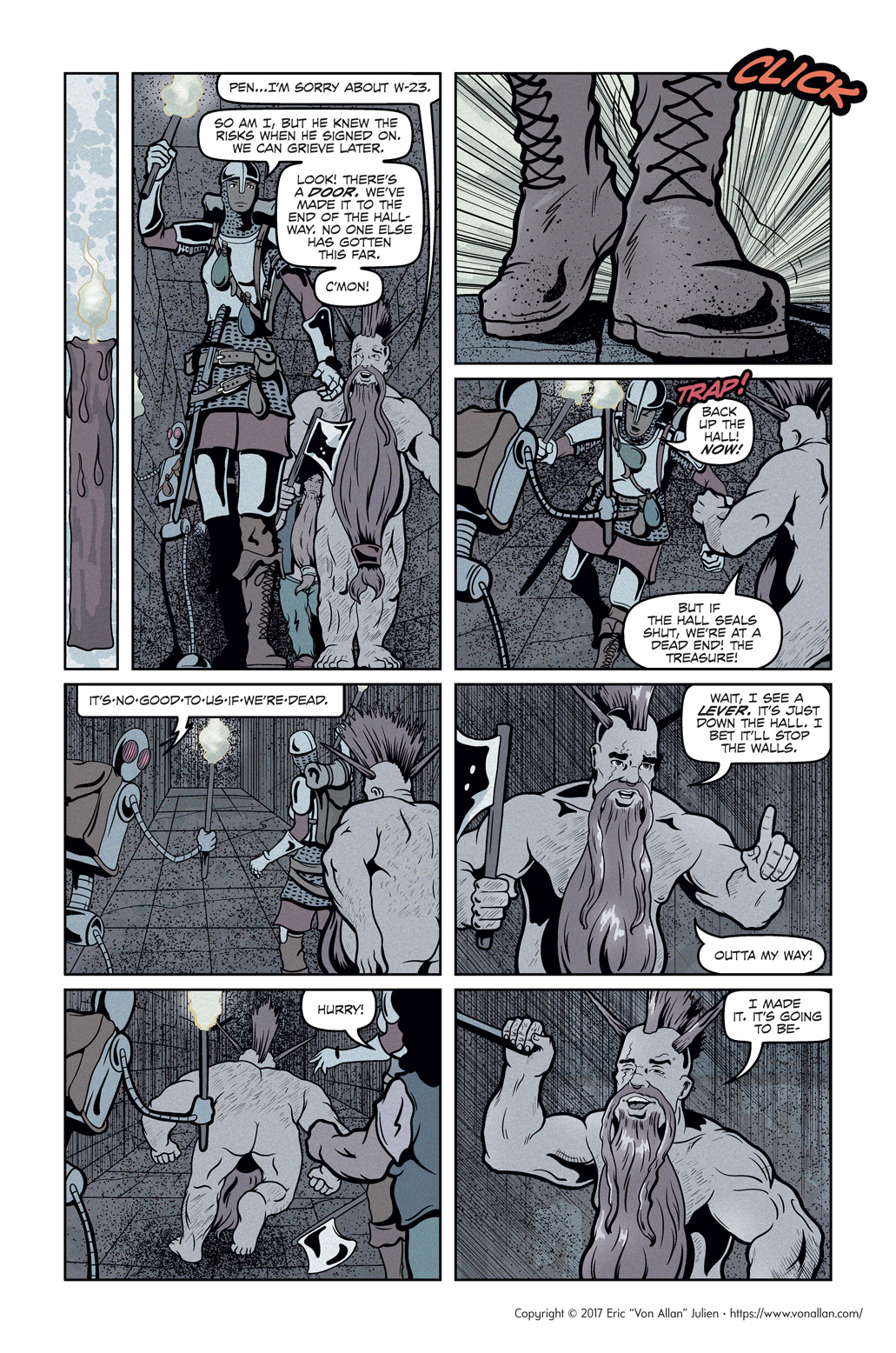 Page three of the comic book short story Total Party Kill written and illustrated by Von Allan